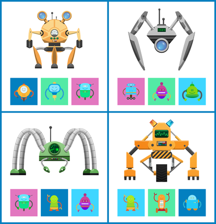 Droids four vector illustrations, colorful posters, white backdrops, squares with droids icons, futuristic machines set, curved legs, various displays