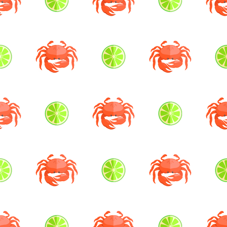 Crab and Lime Seamless Pattern Vector Illustration
