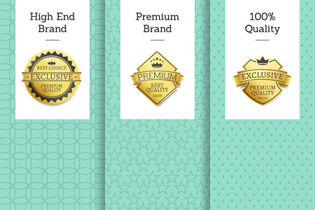 High end brand premium 100 quality best choice golden seals gold emblems. Vector approval stamps high quality rewards with stars and ribbons leaflets