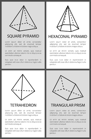 Square hexagonal pyramid tetrahedron triangular prism vector illustration sketches projection of figures dashes and lines to draw pyramid and prism Illustration