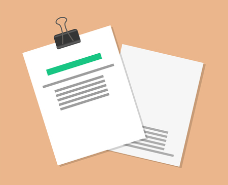 Papers and documents set, documents with holder, highlighted headline and text sample on paper, vector illustration, isolated on brown background