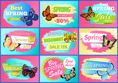 Sale spring discount collection, posters with discounts and spring sale, butterflies and headlines, offers vector illustration set isolated on pink
