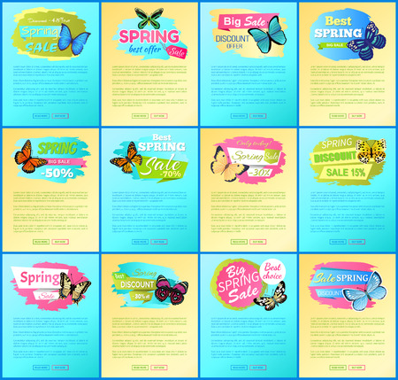 Best spring sale web collection, with text sample and headlines, butterflies and best spring sale and offers set, isolated on vector illustration Illustration