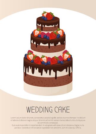 Three-tier wedding cake with chocolate and cream layers decorated with ripe sweet strawberries isolated cartoon flat vector illustration Foto de archivo - 105602818