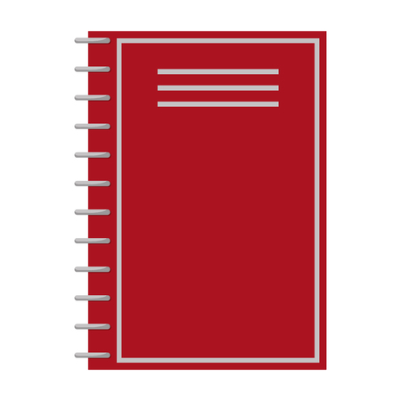 Notebook of red color closeup, poster with object consisting of paper, used for making notes and putting down important events vector illustration