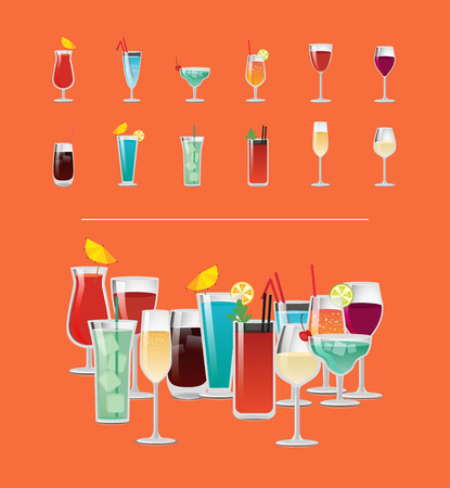 Set of tropical cocktails with orange juice, blue lagoon, bloody mary, vodka with cola, red and white wine and champagne vector illustration menu Çizim