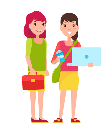 Two students girls in cartoon style smiling, woman with notebook and refreshing drink, with bag over shoulder, leather case in hands pretty girls