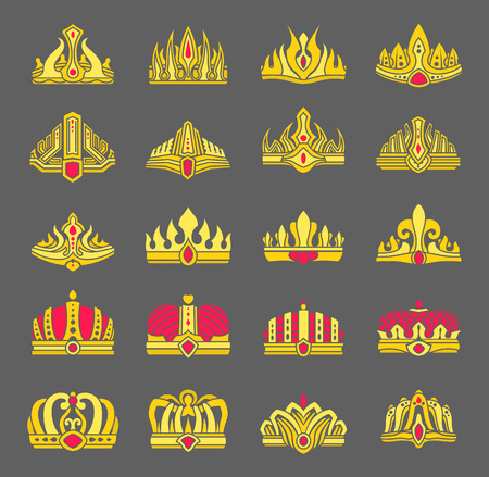 Gold crowns inlaid with rubies for royalty set. Heraldic royal symbols of power. Gorgeous crowns and elegant diadems isolated vector illustrations.