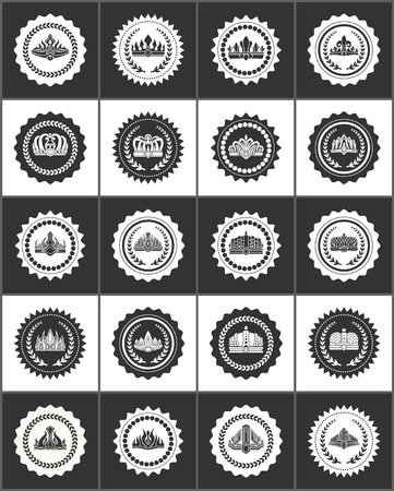 Round stamps with noble crowns and laurel branches set. Royal seals with heraldic symbols. Elegant crowns on monochrome stamps vector illustrations.