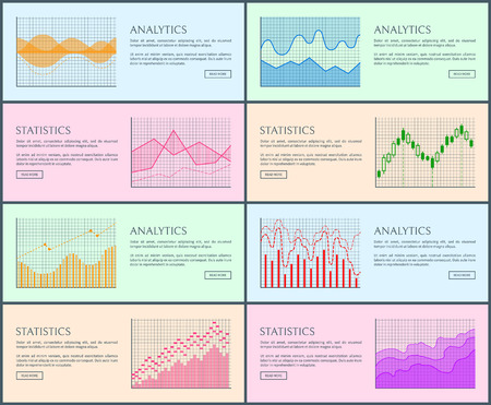 Analytics and statistics, collection of pages and visual representation, charts set, statistics and analytics vector illustration isolated on pink