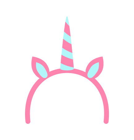 Unicorn horn and ears poster with princess party celebration elements, decorative objects, pink item, vector illustration isolated on white background 向量圖像