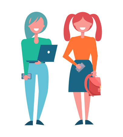 Modern girls students in fashionable cloth, vector illustration of smart schoolgirls with laptop and smartphones, holding backpack vector illustration