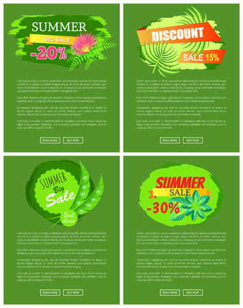 Summer sale collection of web pages with text sample and headlines, buttons and summer sale titles, vector illustration isolated on green background Illustration