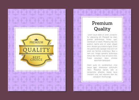Premium quality golden label on cover design template, gold label best choice award vector illustration advertisement poster with place for text