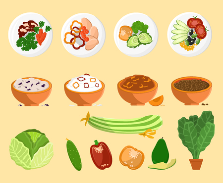 Avocado and dishes collection, plates and vegetarian food, cabbage and cucumber, pepper and vegetarian food vector illustration isolated on white Çizim