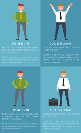 Set of posters with businessman and successful man representing male with raised hands, person with suit full of money and satisfied human vector illustration