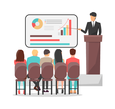 People look at presentation with graphics and speaker in suit at business classes isolated cartoon flat vector illustration on white background.