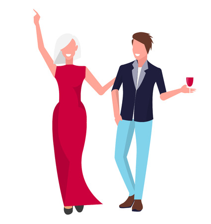 Two happy lovers dressed casually stand smiling. Man has glass of wine and woman holds his hand. Vector illustration with people isolated on white background Illustration