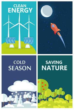 Set of posters urging people to become environmentally friendly and use clean energy. Vector illustration of unspoiled nature and ways how to preserve it.