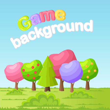 Game background concept with low poly trees on green meadow. Funny fairy apple trees with different colors crowns and spruce or pine flat Vector. Fairy garden, forest or park illustration Foto de archivo - 105602847