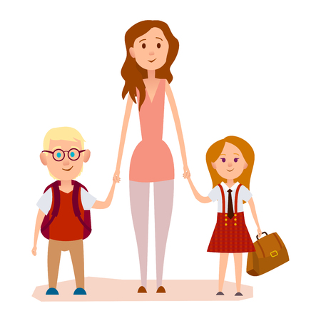 Young mother holding two school children graphic icon on white background. Boy with glasses bears backpack on shoulders, red-haired girl carries in hand brown schoolbag vector illustration of family Illustration