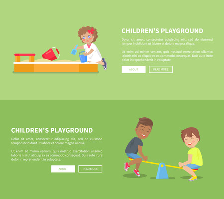 Childrens playground set of posters with sandbox and kid playing with basket and shovel,boys having fun on swings set of vector illustrations on green background