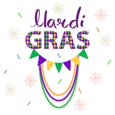 Magri gras carnival concept with confetti, fireworks, flag and beads garlands flat vector on white background. Masquerade decorations attributes illustration for costumed party or festival invitations