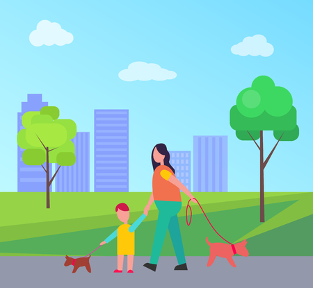 Mother and son walking little dogs on lead isolated vector illustration on skyscrapers in city park. Parent and young kid strolling with pets Illustration
