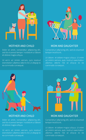 Mom and daughter, mother with child vector posters on blue with text with female parent feeding infant, doing shopping, walking pet and cooking cake