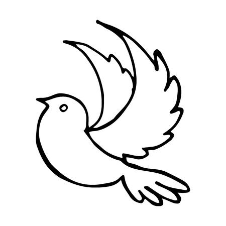 Flying Bird Stretched Wings Vector Illustration Illusztráció