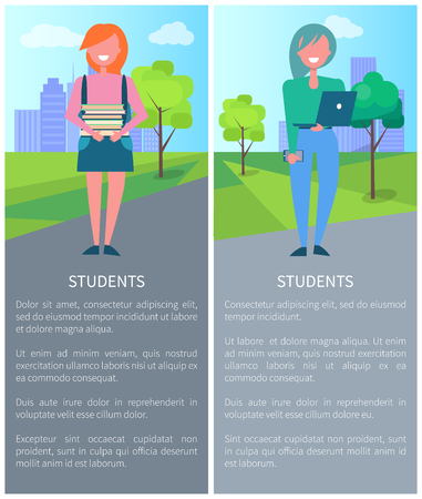 Students on background of city, description with girls holding laptop and books. Vector illustration with schoolgirls poster with text