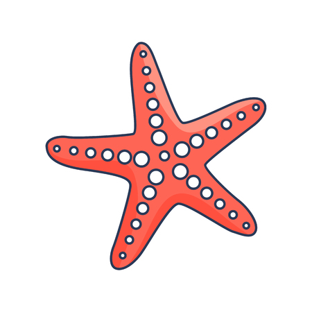 Red starfish with round suckers isolated cartoon vector illustration on white background. Unusual creature that lives under water. Illustration