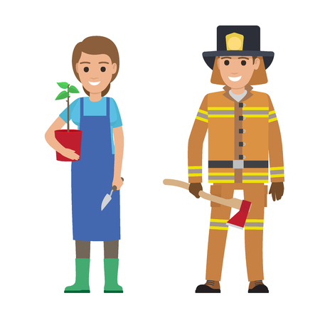 People professions vector characters. Smiling gardener woman with plant in pot and firefighter with ax cartoon characters isolated on white. Occupations flat illustration for labor day, job concepts