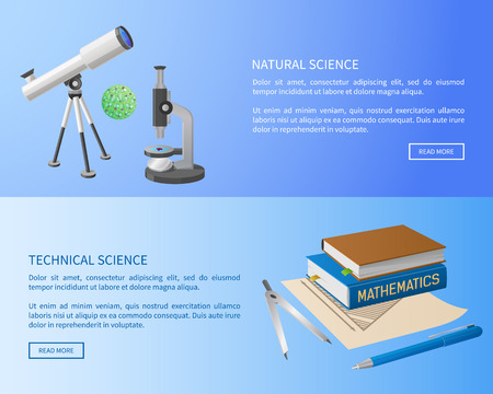 Technical and natural sciences web posters with modern powerful equipment, telescope and microscope, pile of books on mathematics vector illustrations. Stock Vector - 105602863