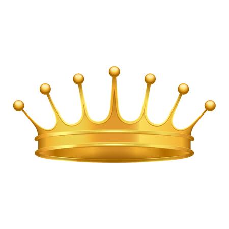 Icône 3d de couronne d'or. Couronne de rois brillante de vecteur réaliste de métal précieux isolé sur blanc. Illustration de symbole de puissance monarque