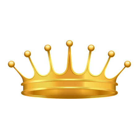 Golden crown 3d icon. Shiny kings crown from precious metal realistic vector isolated on white. Monarch power symbol illustration Illustration