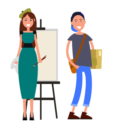 Painter with two brushes and student with brown briefcase color card. Smiling woman teach student to draw vector illustration