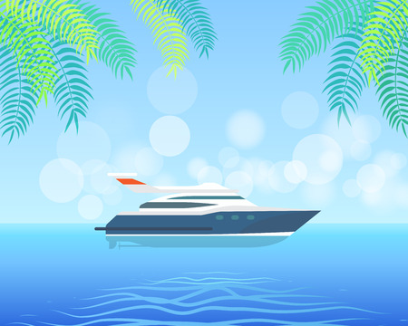 Modern yacht sailing in sea or ocean on background of blue sky and palm leaves vector illustration. Motor boat on water in sunny day