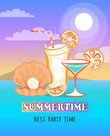 Summertime Poster Depicting Sea and Beverage Standard-Bild - 104203125