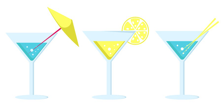 Set of cocktails in martini glasses decorated with yellow umbrella, lemon slice and straws vector illustrations isolated. Refreshing summer alcoholic drink
