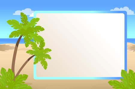 Cornice per foto con posto per il vostro testo, palme sulla spiaggia assolata, cartolina d'auguri per l'illustrazione di vettore di vacanza