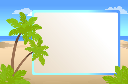 Photo frame with place for your text, palms on sunny beach, greeting card for vacation vector illustration Banque d'images - 105602869