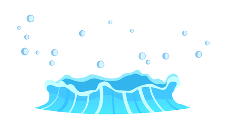 Aqueous stream with splashes of blue crystal aqua. Geyser flow of water from under earth isolated on white. Vector illustration of hot spring in flat design cartoon style, attraction for tourists Ilustração