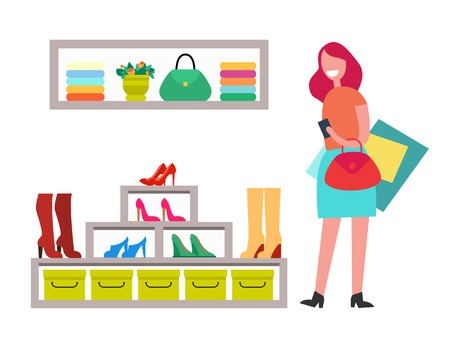 Cheerful lady with red handbag and many purchases, vector illustration isolated on white backdrop, shelf with bag, rack with varied shoes and boots