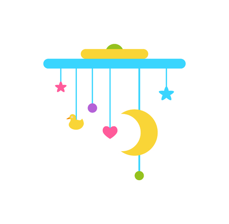 Crib mobile above the cradle with moving stars and Moon, balls and heart, vector illustration of toy hanging in kids bed isolated on white background