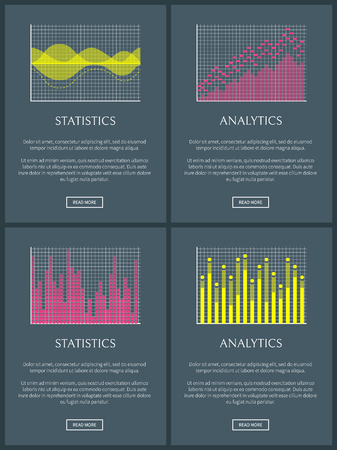 Analytics and statistics pages with button given text sample easy to edit business charts and analytics and statistics isolated on vector illustration Illustration