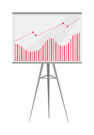 Graphic composed of bars and curve on big screen installed on tripod. Numeric data converted into graphical presentation isolated vector illustration.