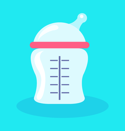 Feeding bottle for kids, poster with item important for childcare, container with food and lines, measure and meal isolated on vector illustration