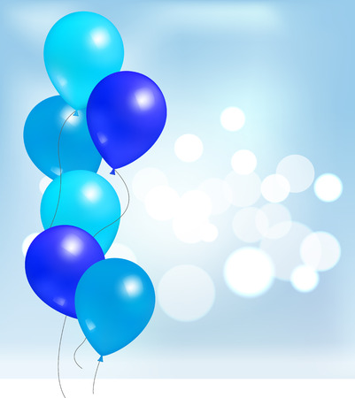 Balloons for party decorations, birthdays and anniversaries, rubber balloon of blue color in inflatable bunch, helium flying elements on blurred backdrop