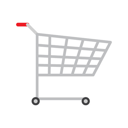 Colorful icon of product trolley, vector image with bright backdrop, two black wheel, red handle lot of rectangular holes on trolley case, metal bogie Illustration